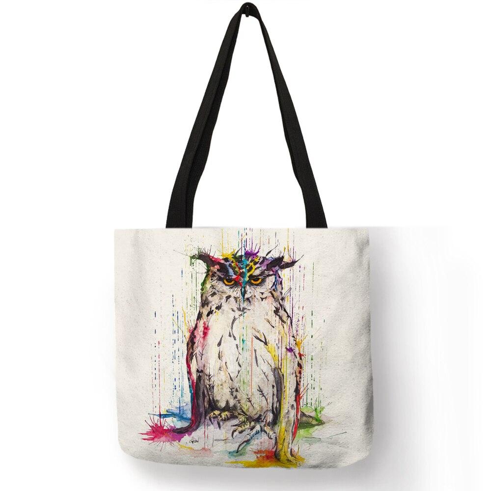 Creative Pattern Female Shoulder Bags Watercolor Art Bird Owl Dragonfly Handbag Eco Linen Practical Daily Office Totes