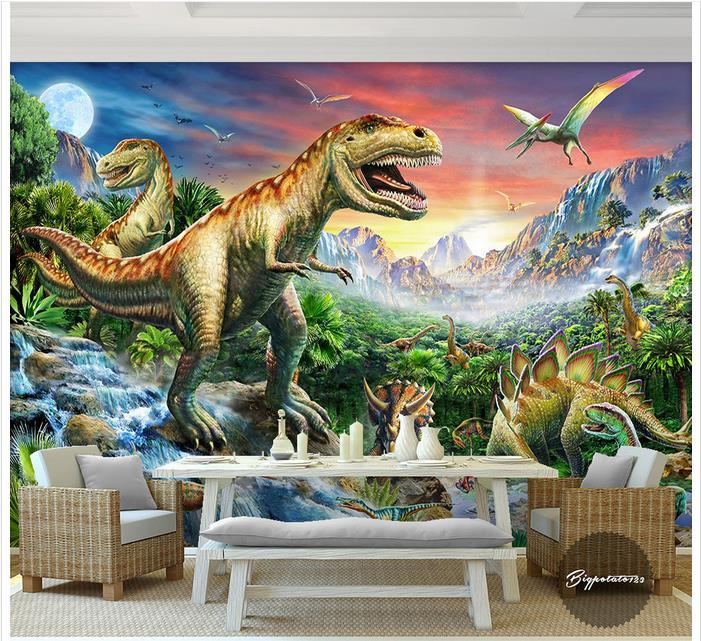 Papel tapiz de foto personalizado pared 3d murales papel tapiz Río Piedra bosque mundo dinosaurio pintura al óleo de animales niños papel tapiz para habitación