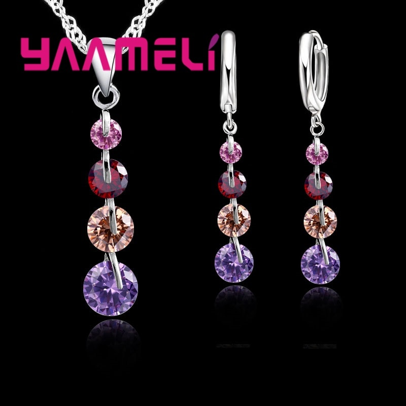 hibride luxury clear cubic zircon women jewelry sets bridal wedding wihte gold color necklace set parure bijoux femme n 280 Fashion 925 Sterling Silver Bridal Jewelry Set For Women Tassel Cubic Zircon Pendant Necklace Earrings Sets Wedding Gift