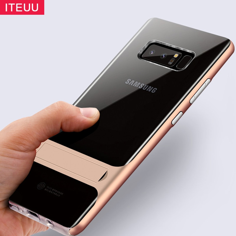 ITEUU NOTE8 Pza TPU Kickstand funda para Samsung Galaxy Note 8 fundas suave a prueba de golpes cubierta transparente translúcida de silicona soporte