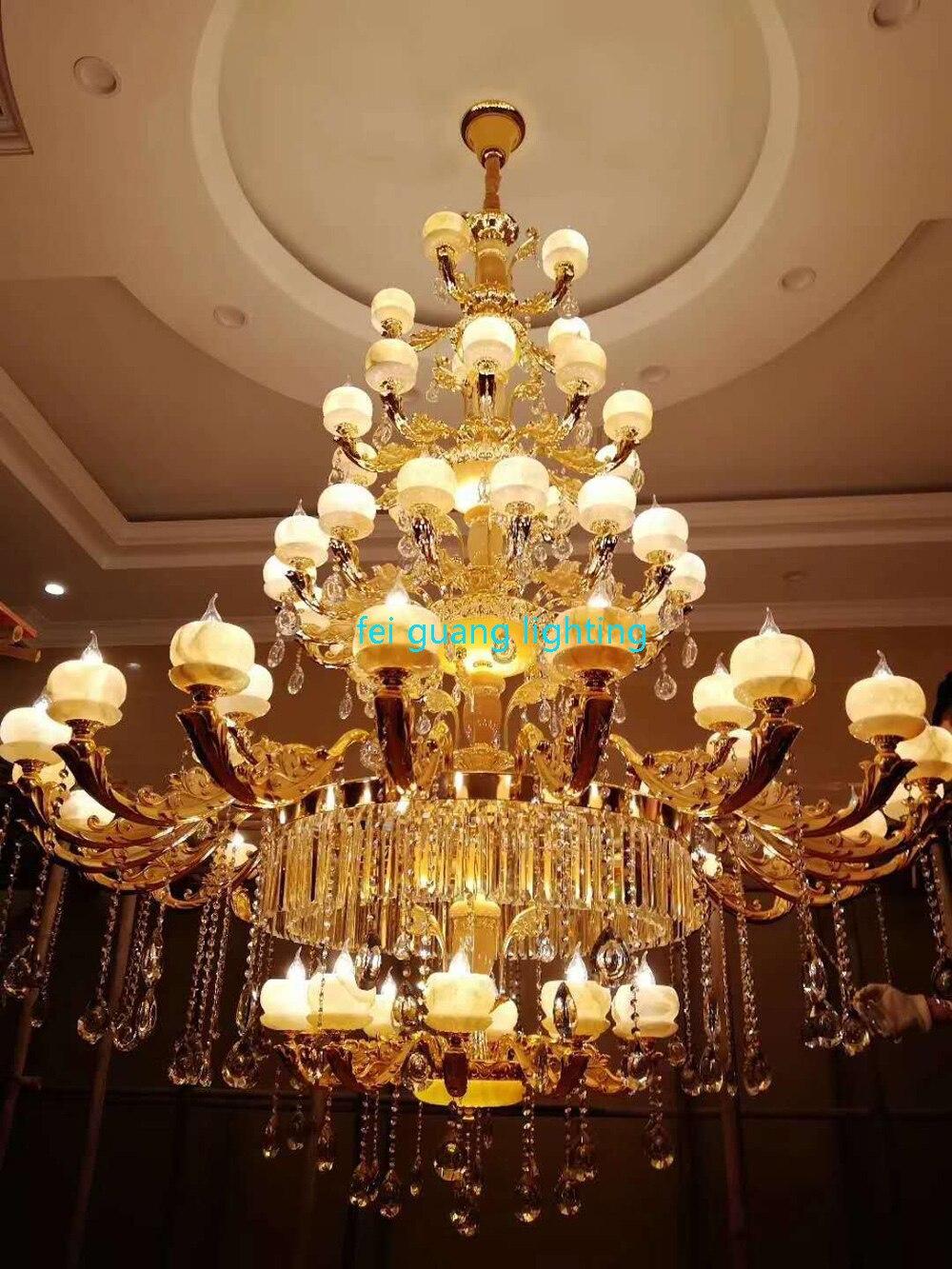 Candelabro de cristal de lujo europeo imitación jade Villa dúplex sala de estar cinco pisos Hotel iluminación de lujo para candelabro