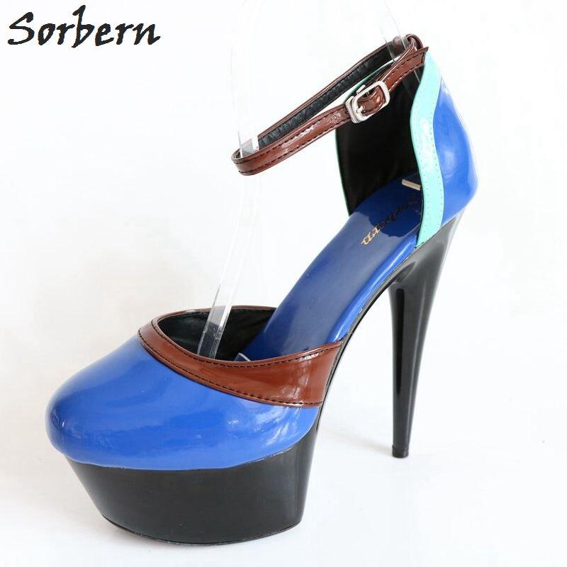 Sorbern Sexy espiga tacón alto mujeres bombas tobillo correas punta redonda 15Cm zapatos de plataforma señoras Color personalizado mujeres tacones foto Real
