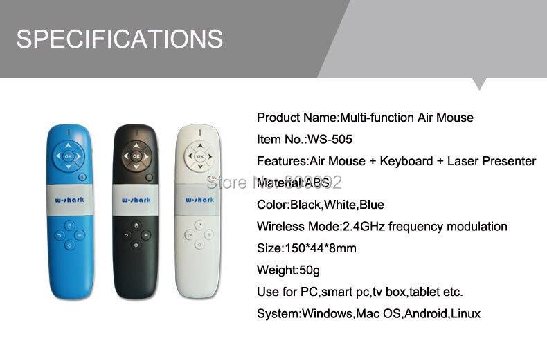 El más nuevo teclado de ratón de aire volador de Control remoto inalámbrico de 2,4 GHz y puntero láser para PC portátil TV Box