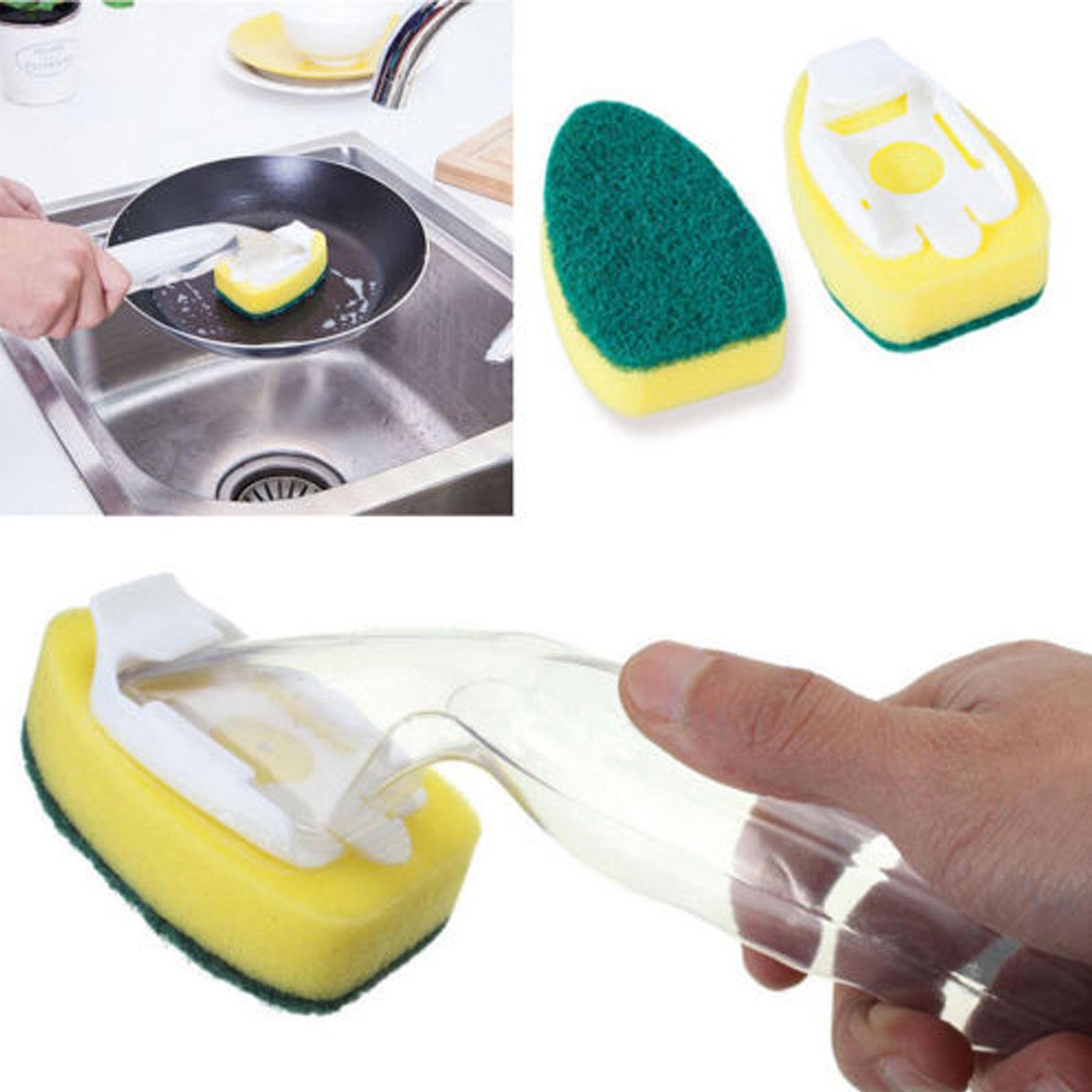 Escova de lavagem de louça de cozinha escova de limpeza de longa duração purificador de escova com dispensador de sabão líquido forte esponja de limpeza de descontaminação
