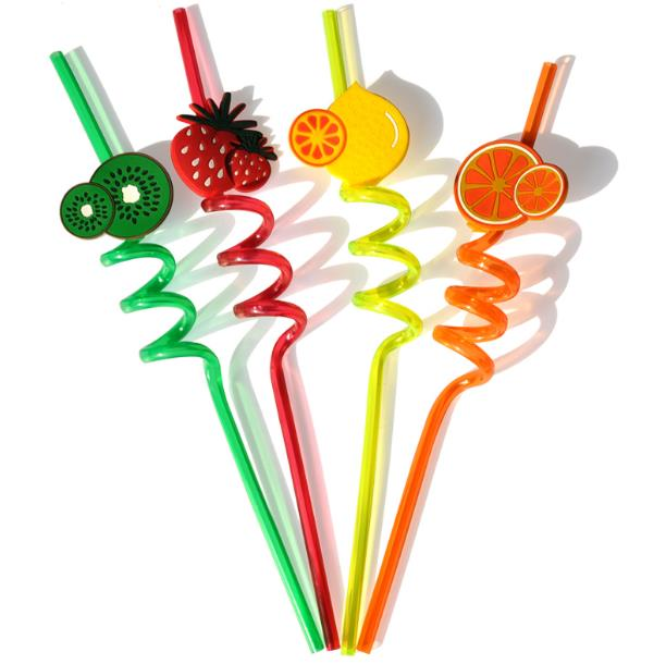Fashion multicolour Cute cartoon fruit pattern drink straw 30pcs /lot free shipping Design random