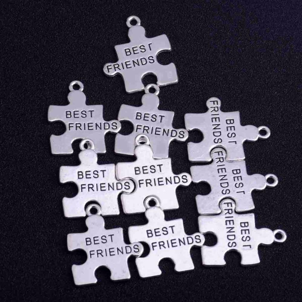 10 Sets Best Friends Puzzle Pieces Matching Pendants Charms Friendship Jewelry Making Crafts Necklace Bracelet Pendant BFF