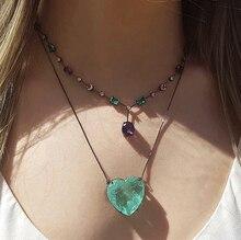 Multi Kleur Hanger Ketting Zirconia Vrouwen Choker Ketting Crystal Clear Glas Vrouwelijke Luxe Ketting nieuwe Mode-sieraden
