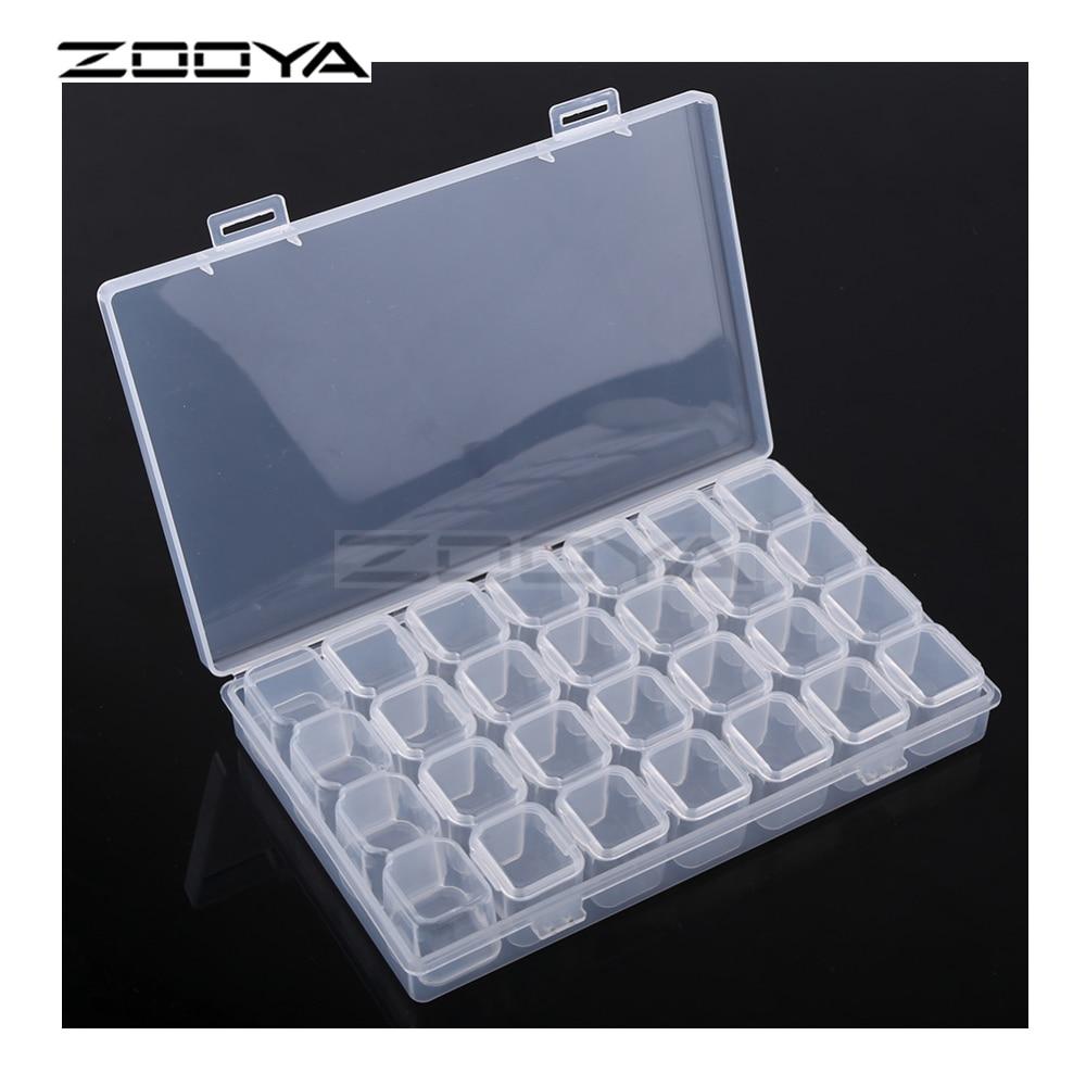 ZOOYA 28 слотов регулируемая пластиковая коробка для хранения Коробка для ювелирных изделий Алмазная вышивка ремесло бисера таблетки инструмент для хранения BKT