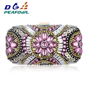 Flower Crystal Plastic Party Clutch Bag Toiletry Package Fashion Shoulder Bag With Chains For Women Wedding Diamonoe Evening Bag