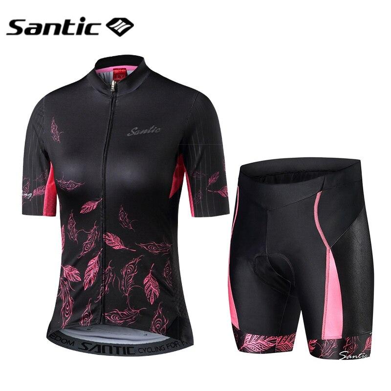 Santic-Camiseta de manga corta para ciclismo, camisetas y pantalones cortos transpirables para mujer, ropa para ciclismo de montaña o de carretera