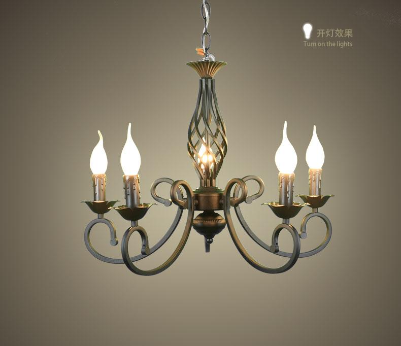 5 Heads Candle Chandelier Iron Black color Retro style Blaze Flame shape bedroom restaurant study parlor Lighting