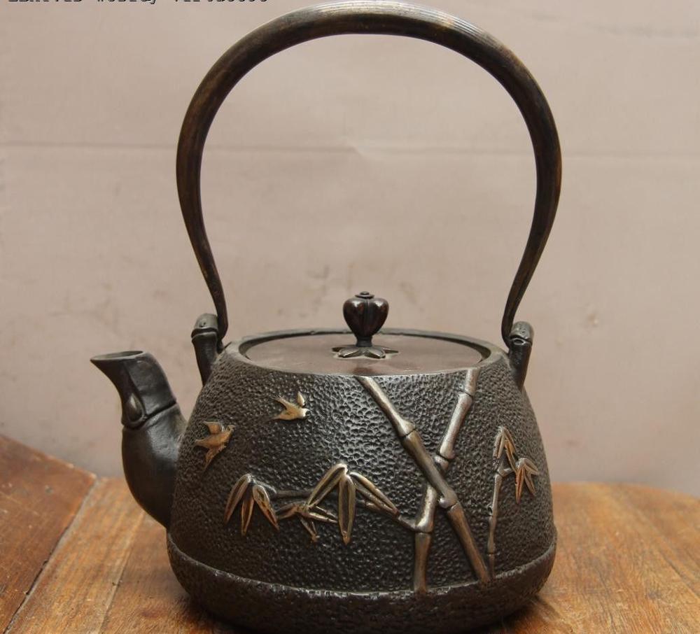 Jepanese Technics Iron Silver Gilt Bird Bamboo Water Bottle TeaPot Teakettle Pot