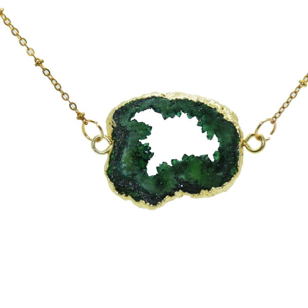 Verde livre de cristal de quartzo cru cluster geode druzy colar 2 loops moldura ouro laje menina pedra gem conector colar mulher