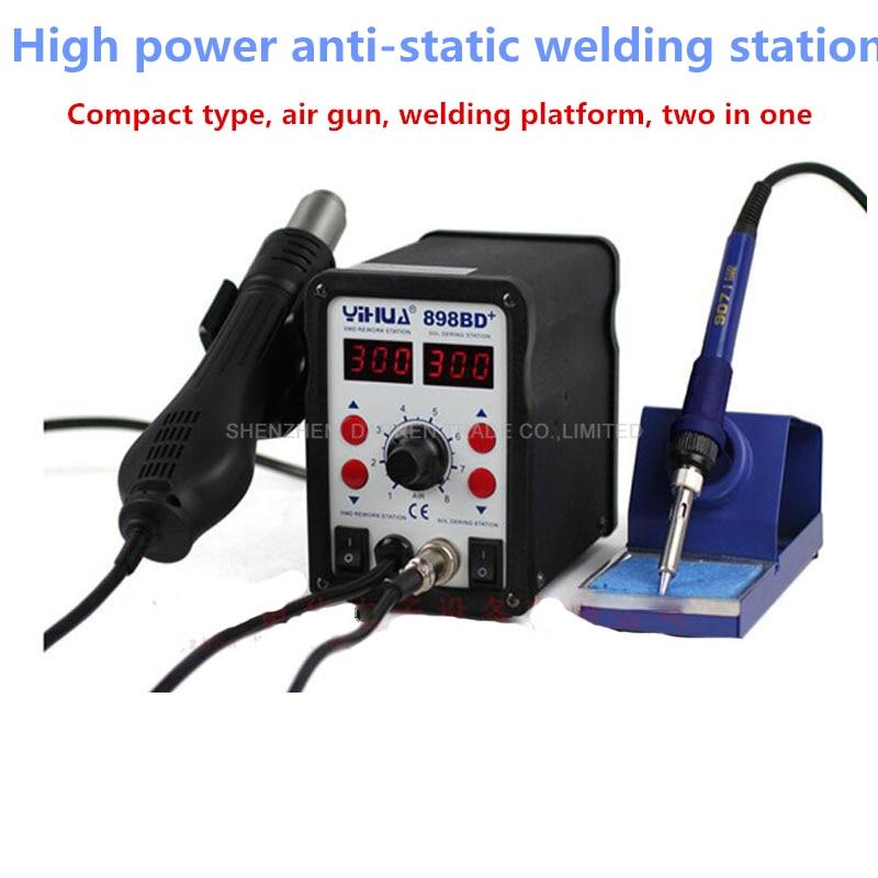 YIHUA 898BD + 110 V/220 V 700W 2 en 1 SMD Estación de soldadura de retrabajo pistola de aire caliente + soldadura de hierro