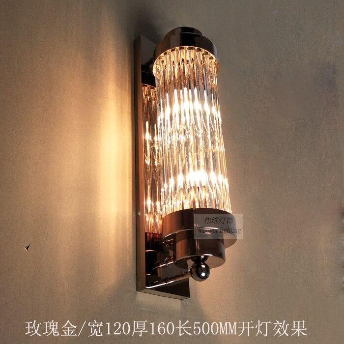 Гостиная розовая Золотая настенная лампа для спальни титановая классическая стеклянная Серебряная хромированная Простая Современная Зол...