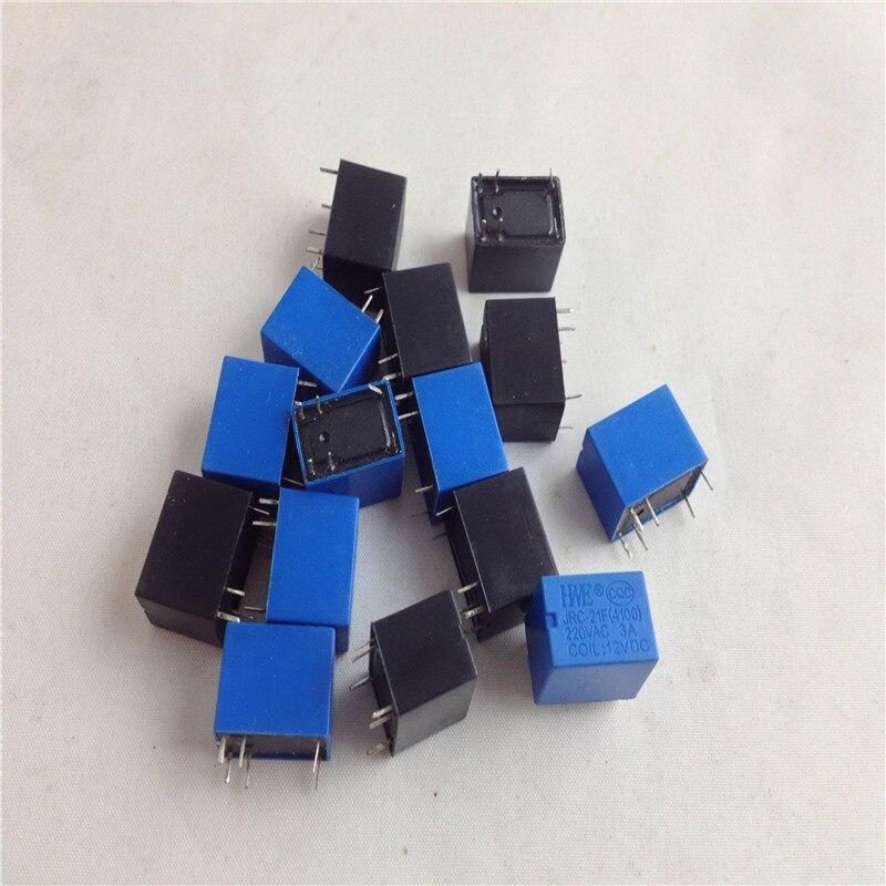 50 unids/lote JRC-21F 4100 12V DC 6 pines relé PCB miniatura a estrenar