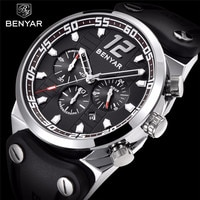 Business Men Watch BENYAR Top Brand New Silicone Strap Multifunction Chronograph Watch Casual Men Quartz Clock Relogio Masculino