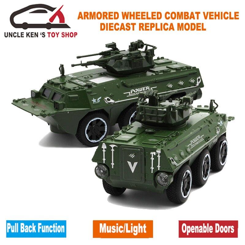 17cm de longitud fundido con ruedas blindadas modelo de vehículo tanque de combate para niños como juguetes presentes con la caja/música/luz/función de extracción trasera