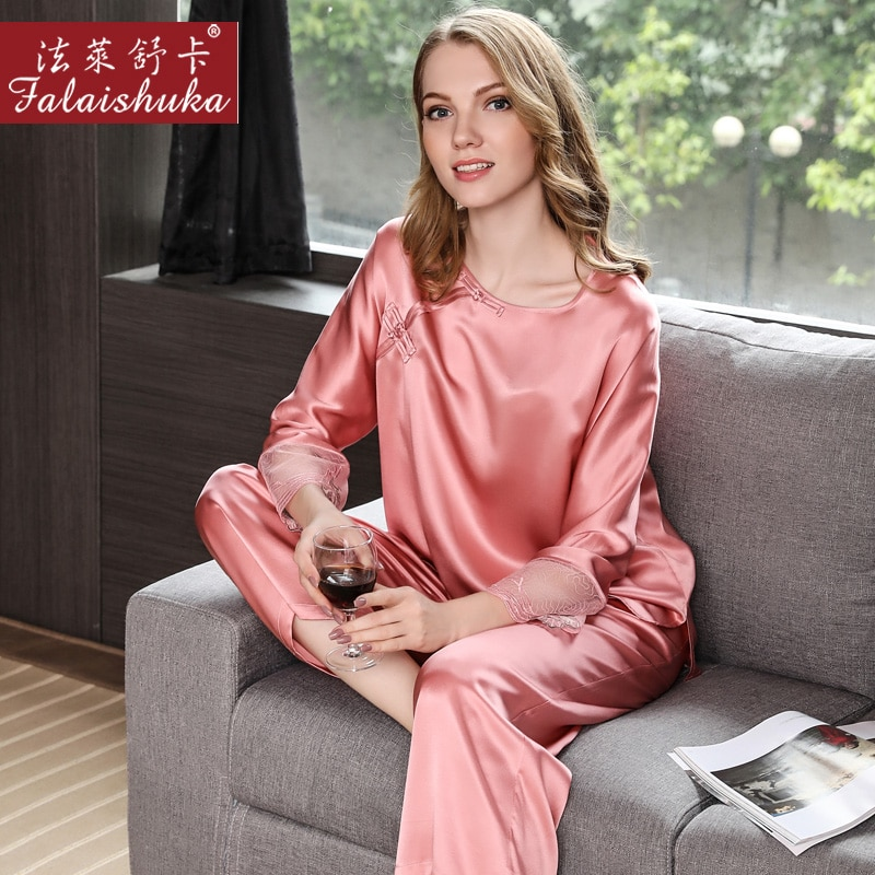 Women Silk Sexy Stain Pajama Sets Solid Pink Blue Red Two Piece Silk  pijama feminino Sleepwear Set Pajamas Nightwear Homewear