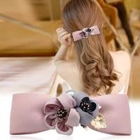 korean cute romantic flower hair net headdress stewardess nurse coiled hairnet pocket hairpin hair accessories for women wedding