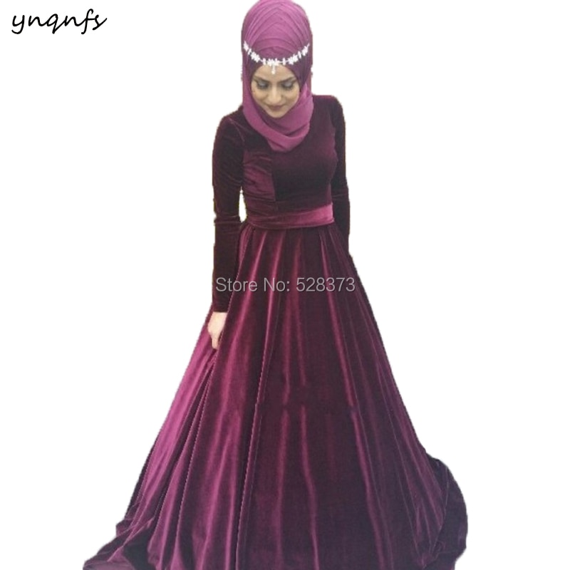 YNQNFS ED218-فستان سهرة أنيق من دبي ، مع حجاب ، أزياء إسلامية ، عنب ، أكمام طويلة ، عنابي ، فستان إشبينة العروس
