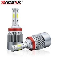 Racbox 80W Car LED Headlight Bulbs Lamp H4 High Low 9006 HB4 with 4 Sides 360 degree LEDs Cool White 6000K 12V 24V Auto Light