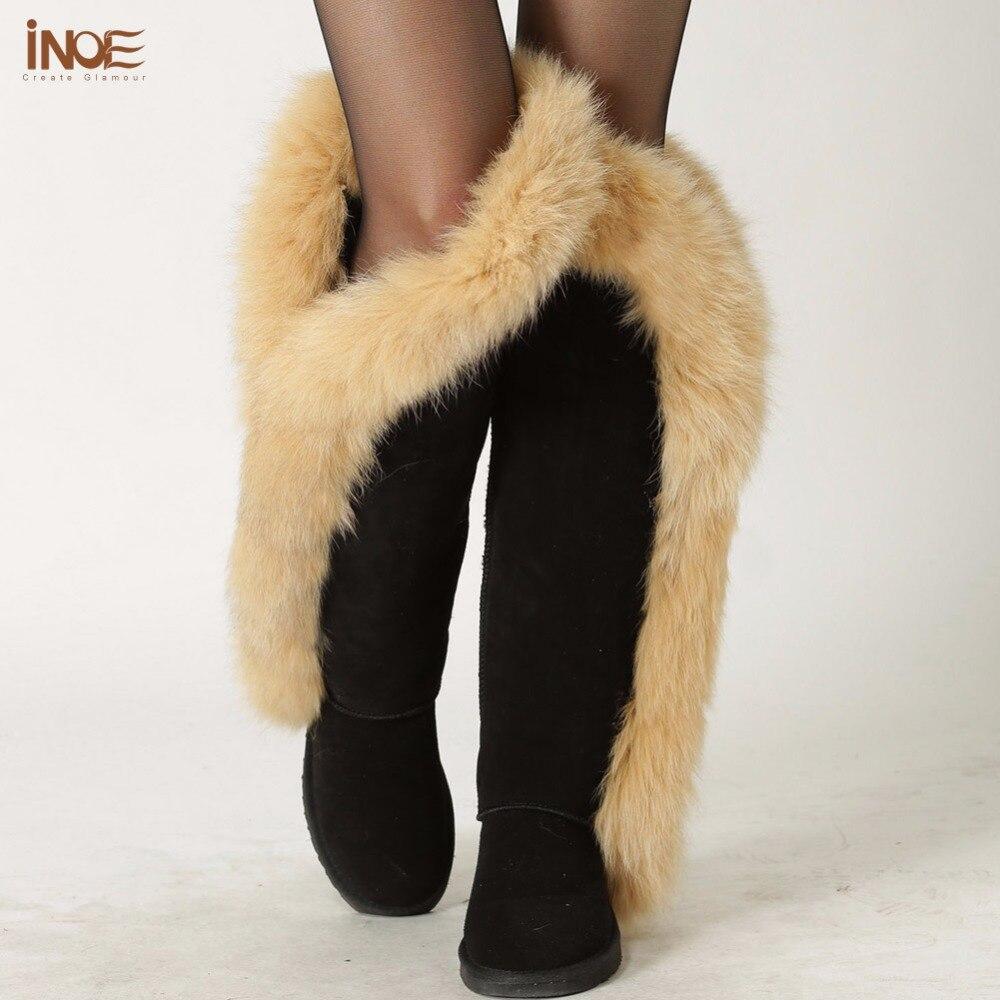 INOE mode fuchs pelz botas kuh wildleder leder über das knie lange winter schnee stiefel für frauen oberschenkel winter schuhe stiefel schwarz braun