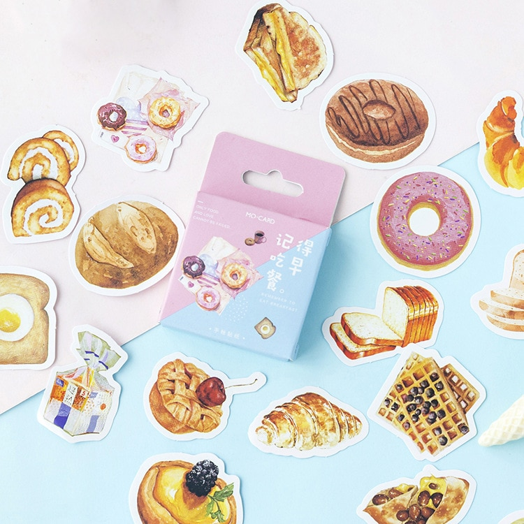 46 unids/pack Kawaii lindo pan pastel Donut pegatina marcador planificador diario papelería pegatinas Scrapbooking bala diario sl1449