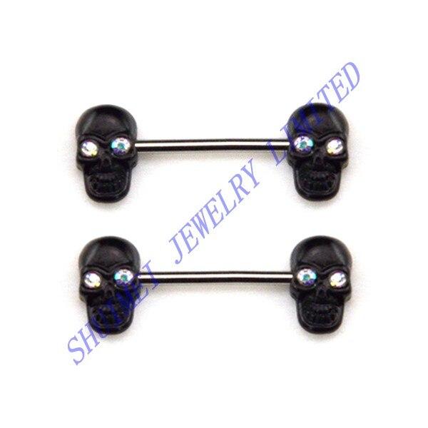 50 Uds CZ gema Punk Skull 316L Acero inoxidable hueso pezón escudo piercing anillo mancuerna joyería al por mayor