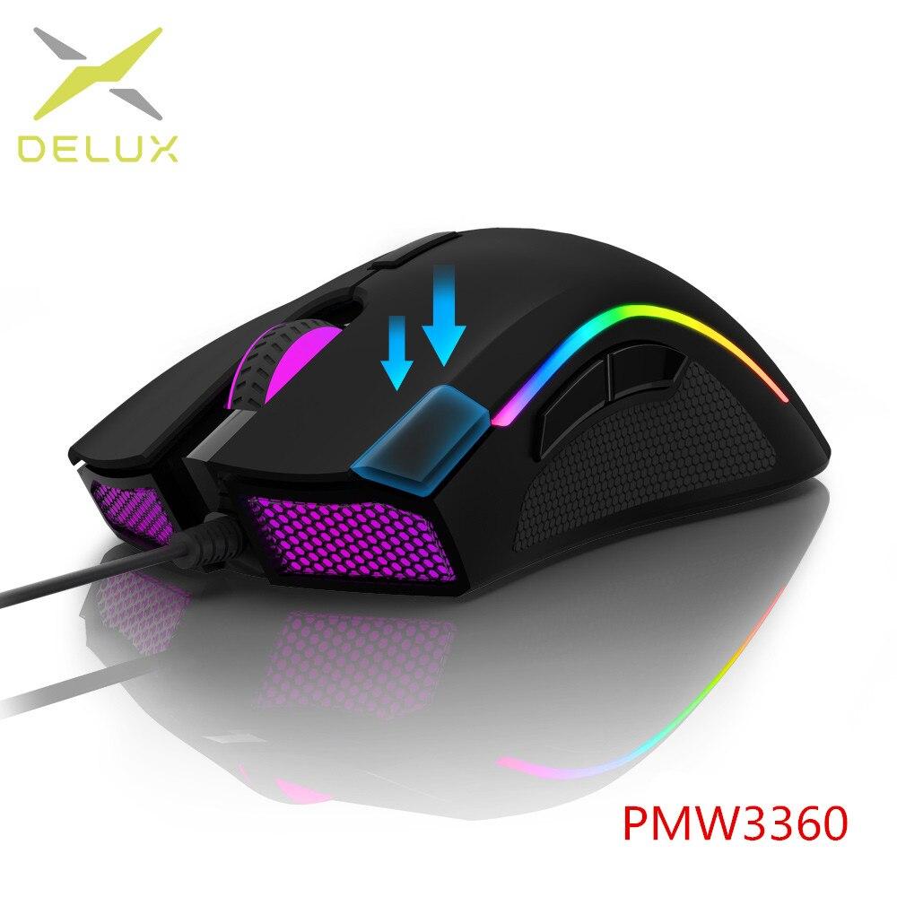 Сенсорная игровая мышь Delux M625 PMW3360, 12000 dpi, 7 программируемых кнопок, RGB подсветка, проводные мыши с клавишей Fire для FPS Gamer