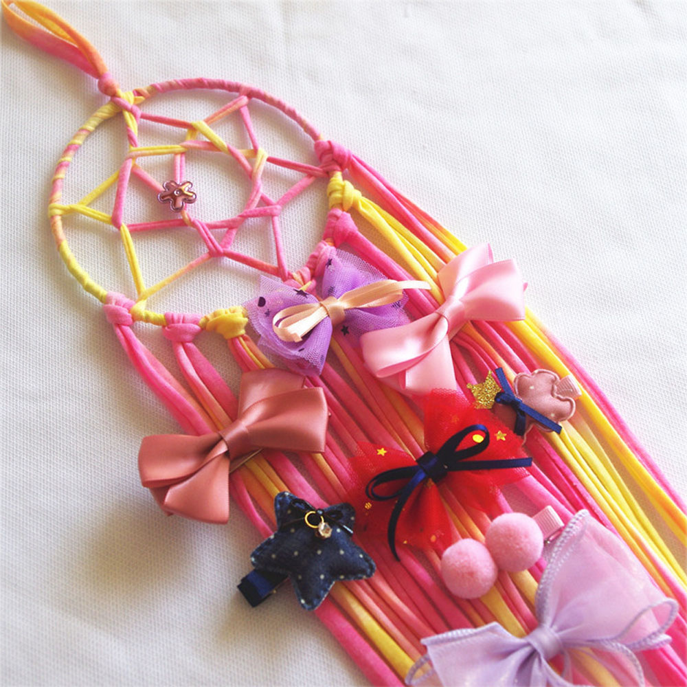 Rainbow Dream Catcher Hair Bows Storage Belt Handmade Circular Gifts Wall Hanging Decoration Holder Hairgrips Barrettes For Kids
