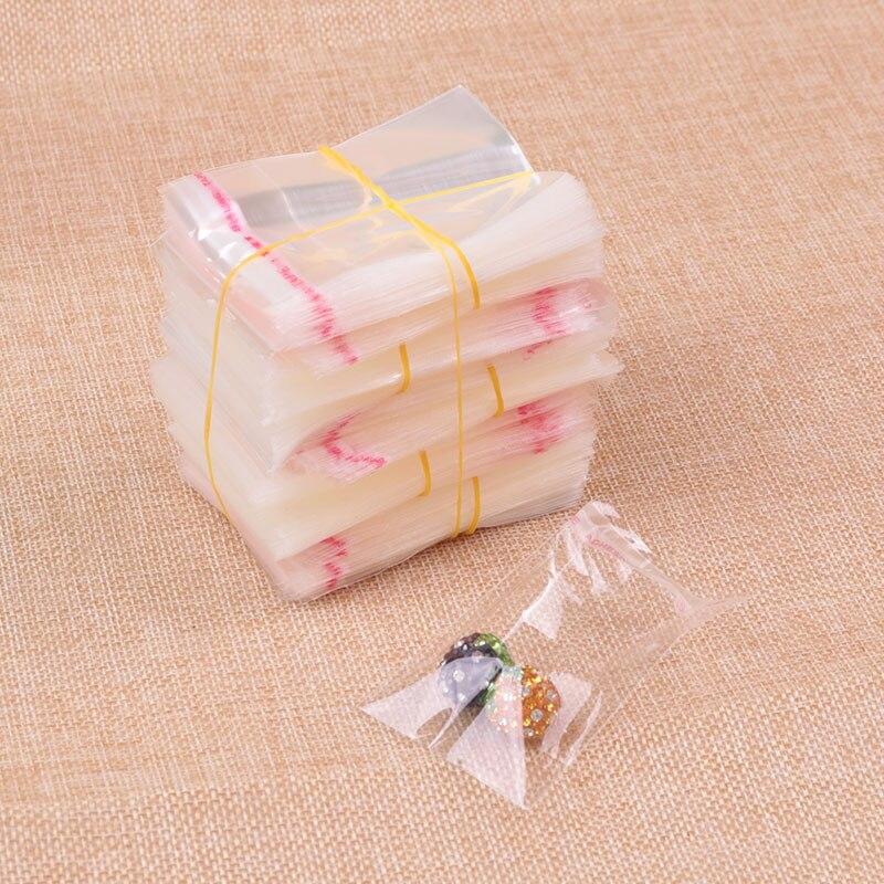 1000 Uds bolsa de celofán de plástico transparente 3x3 + 2cm Bolsas de polietileno resellable Mini sello autoadhesivo bolsas Opp dijes bolsas de embalaje de joyería