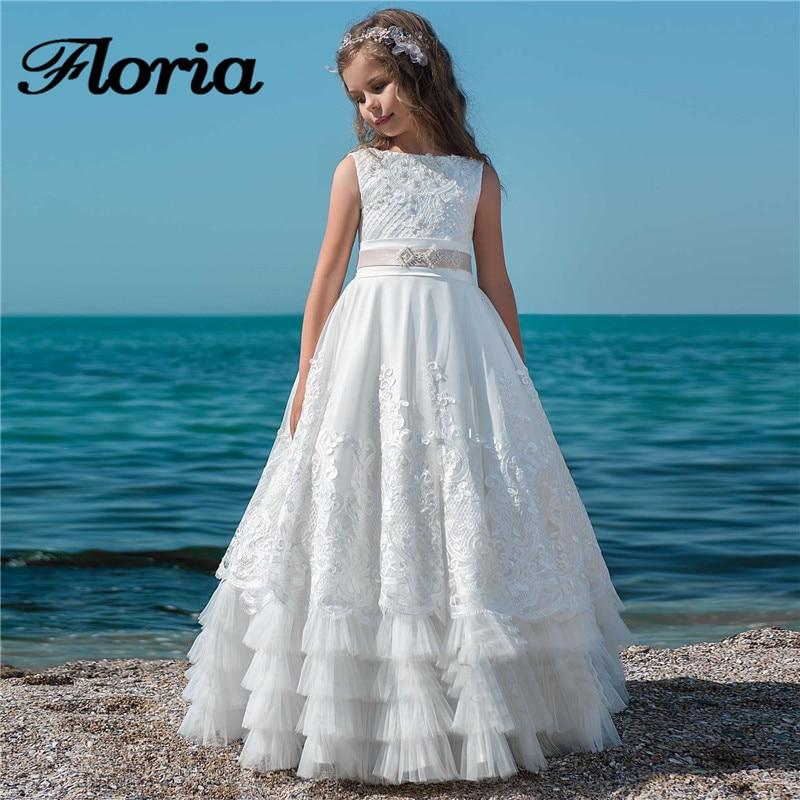 Белые платья с цветами и бусинами для девочек на свадьбу, длинное бальное платье, платья для первого причастия для девочек, детские празднич...
