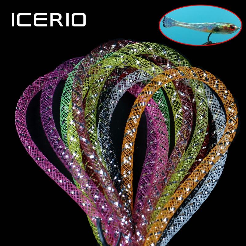 ICERIO 2 m/paquet 4mm multicolore holographique Tinsel Mylar maille Tube tresse Tube mouche attachant Minnow corps Flash matériel