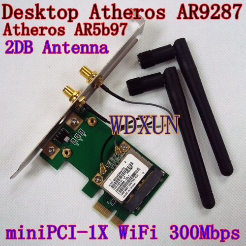 Envío Gratis dedicado escritorio WIFI AR9287 300 M PCI-E 1x tarjeta inalámbrica con antena 2DB WIN8 WIN7