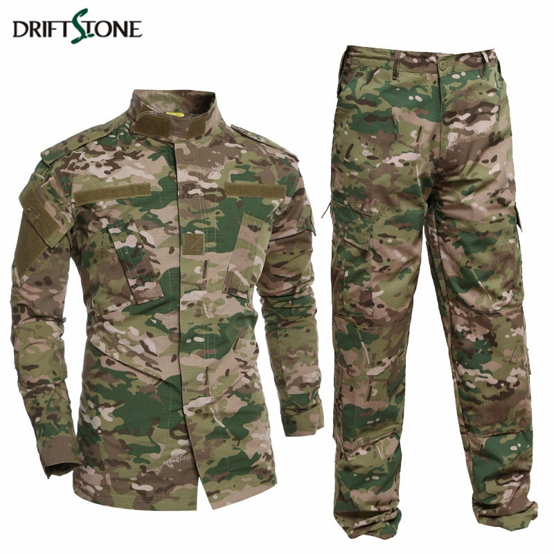 Uniforme militar Camisa + Pantalones militar ejército traje grueso algodón camuflaje trajes Python campo camuflaje combate uniformes CS campo