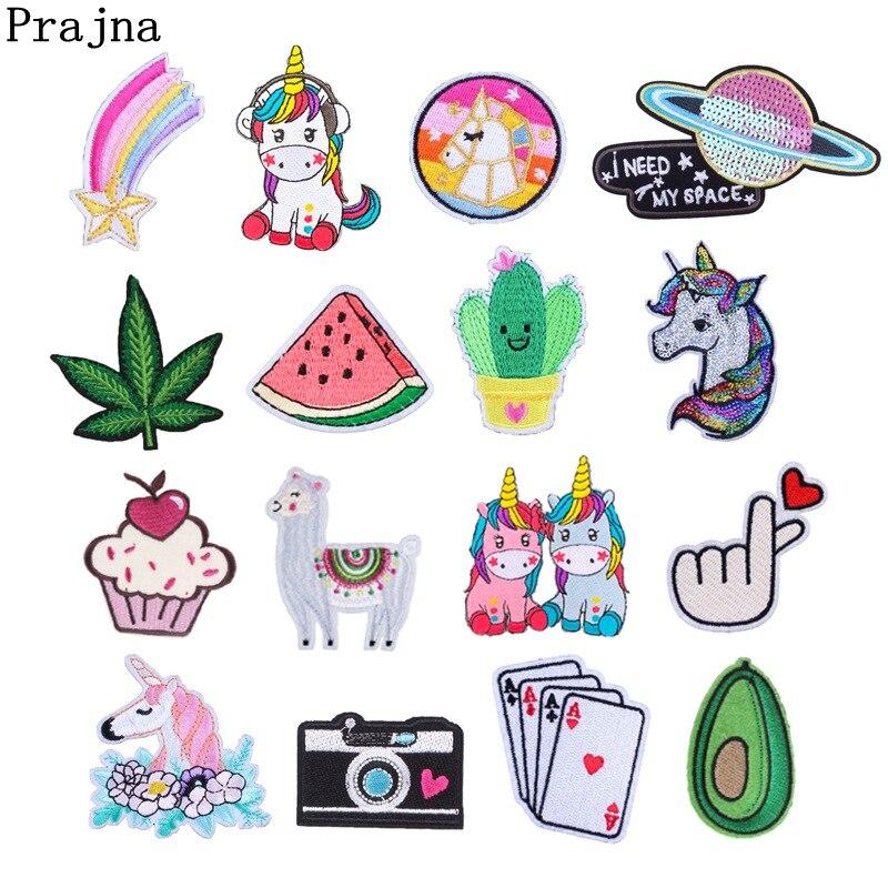 Патчи для одежды Prajna, с рисунком единорога, Planet Things, железные патчи для одежды, вышивка в полоску, милый бейджи с блестками, сделай сам