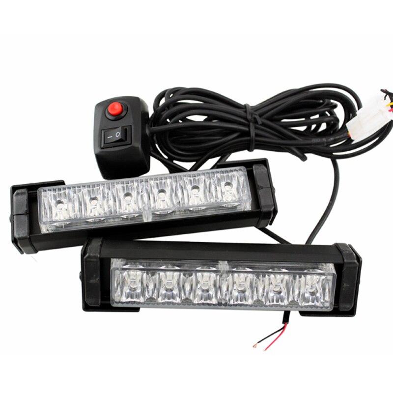 SUNKIA 2 unids/set de alta potencia 12W rojo/azul 10 modos de luz de advertencia LED 12LED estroboscópico precaución luz de emergencia baliza Bar