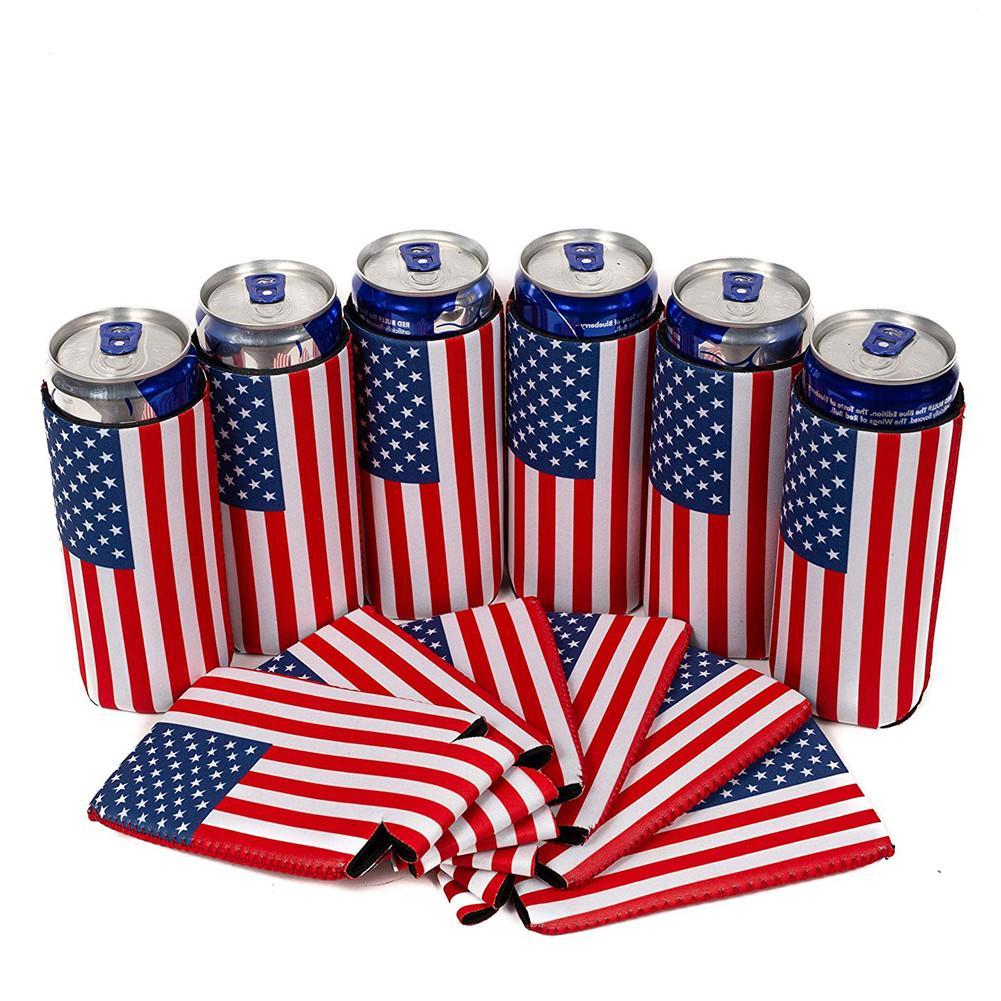 6 шт. охладители для банок с пивом флаг США тонкий Может Охладитель Рукава пиво Тощий 12 унций неопрен Кули идеальный ультра шипами сельтзер по-настоящему