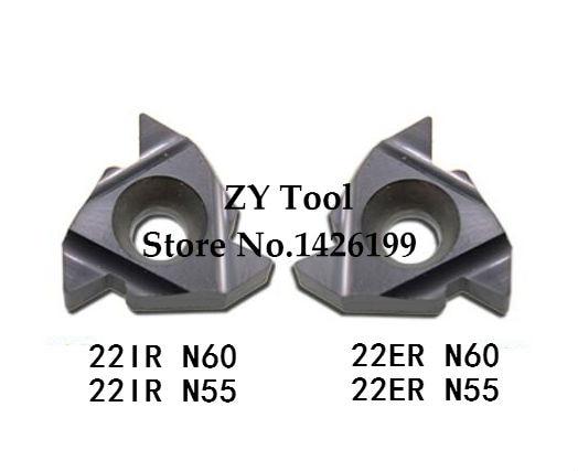 22 er N60/22ER N55/22IR N60/22NR N55 inserto de carburo de torneado roscado, insertos de torno de revestimiento PVD de acero de corte de 55 60 grados