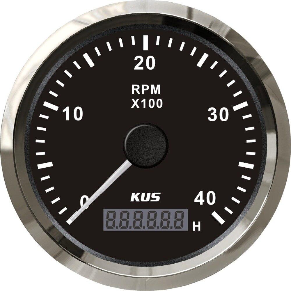 Tacómetro de Motor diésel marino fueraborda KUS de 85mm 0-4000RPM con indicador LED Digital de reloj de arena, generador de Motor, medidor de tacómetro