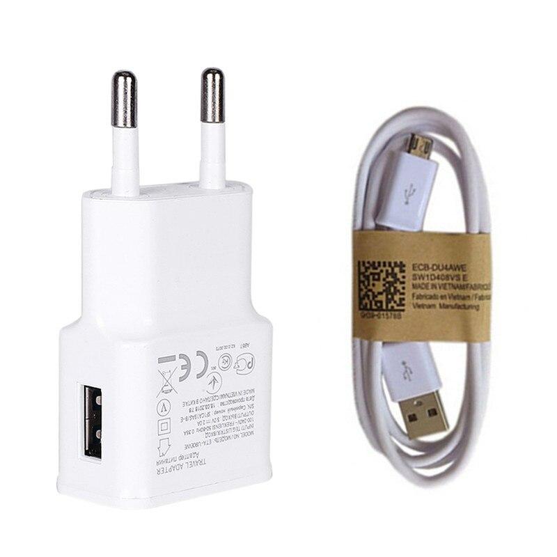 Para Samsung Galaxy J4 J6 plus teléfono cargador de viaje pared 5 V 2A adaptador de carga Nota 4 5 J5 J7 s6 S7 borde S4 y Cable Micro USB de 1 M
