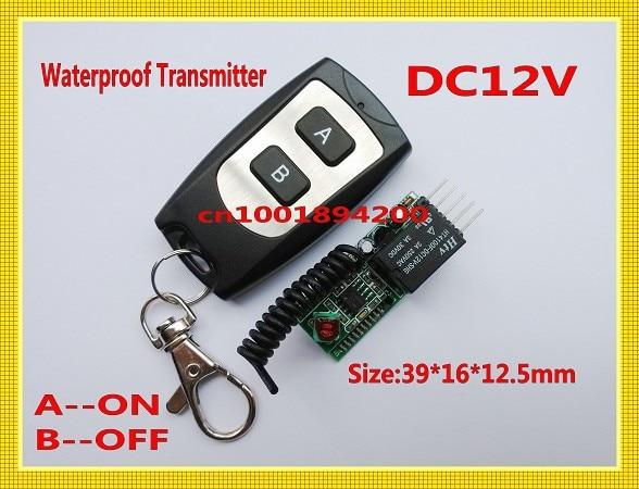Control remoto RF DC12V Mini interruptor de Control remoto Recever + TRANSMISOR impermeable A ON B OFF pequeño Control remoto