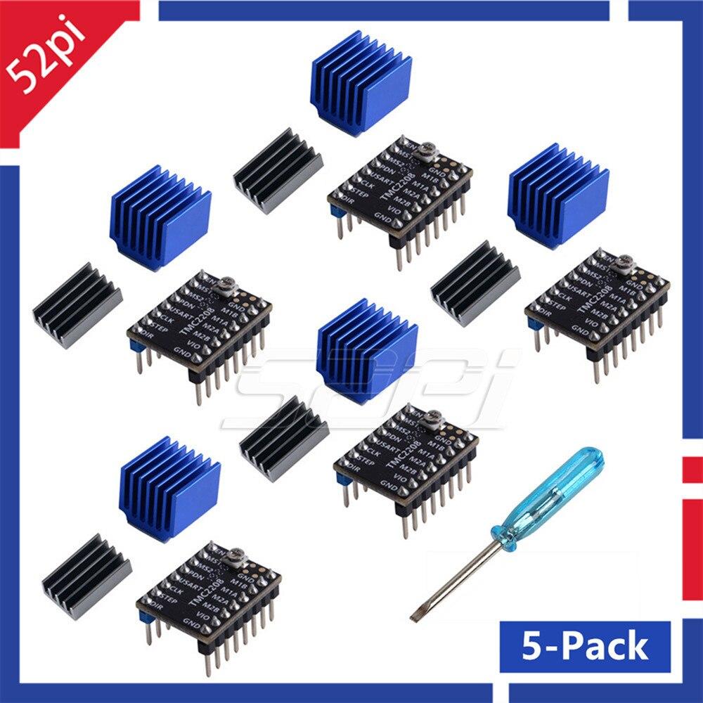 52Pi 5-Pack TMC2208 V2 Module dimprimante 3D Kit Modules de pilote de moteur pas à pas avec accessoires de dissipateurs pour imprimante 3D