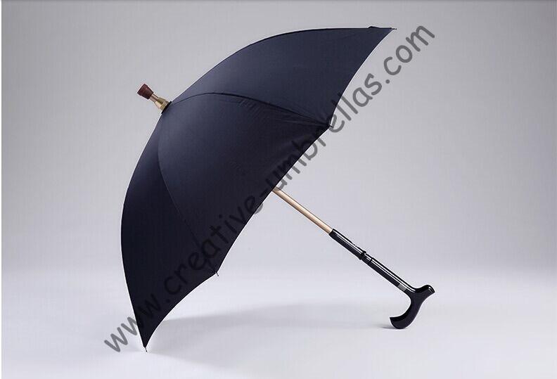 Hand open unbreakable self-defense detachable crutch climbing umbrella brass aluminnium fiberglass old man's sunshade parasols enlarge