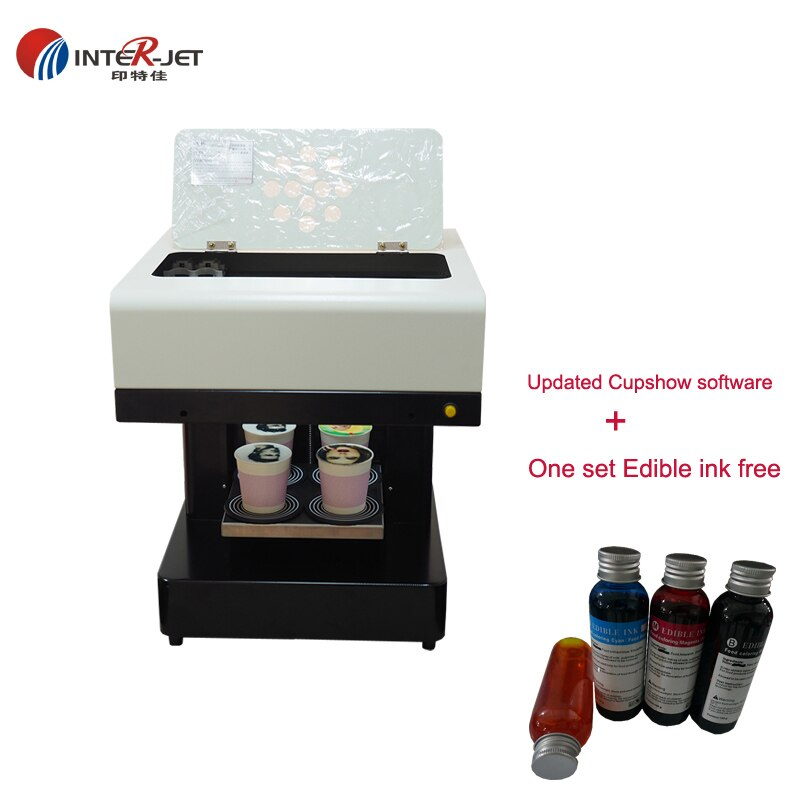 20*20cm con actualización cupshow software Latte art café impresora cerveza Milktea café Flatbed Food machine 4*100ML comestible sin tinta