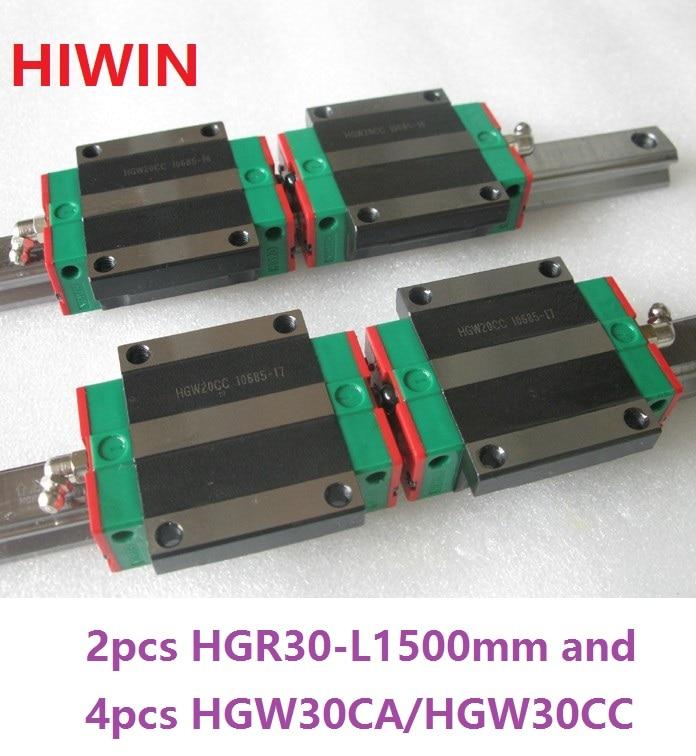 2pcs 100% original Hiwin linear rail HGR30 -L 1500mm + 4pcs HGW30CA HGW30CC flanged carriage for cnc
