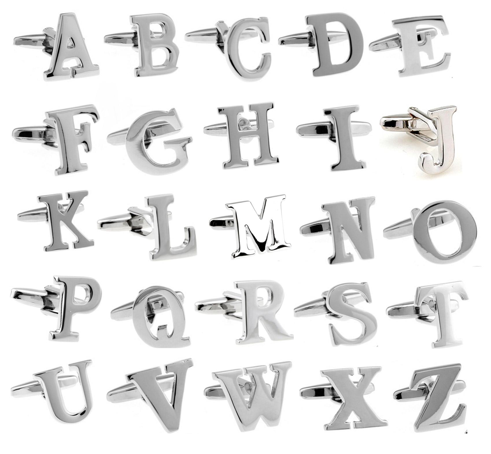 Letras Inglesas dos homens Material de Cobre Ligações de Punho Cor Prata
