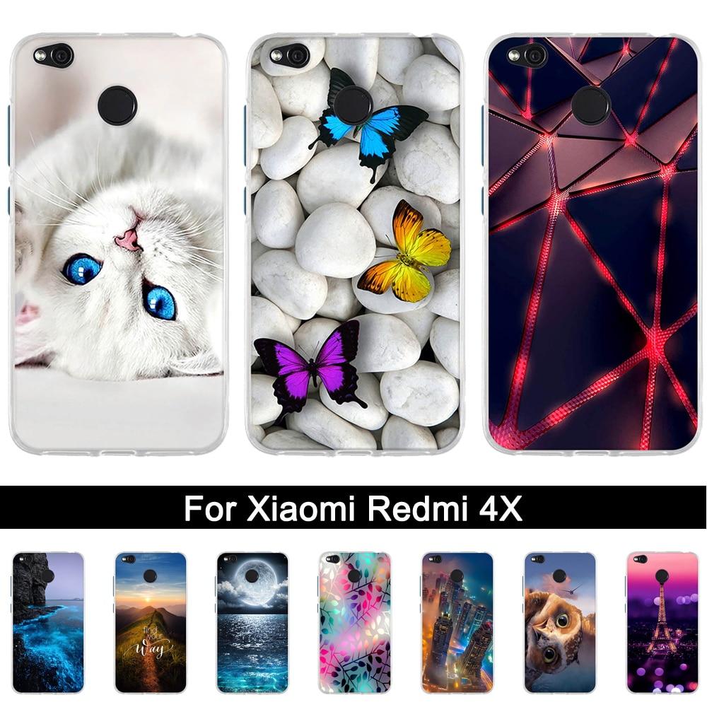 Funda de TPU para Xiaomi Redmi 4X, funda trasera de silicona suave para Xiaomi Redmi 4 X, carcasa protectora con patrón impreso para redmi 4x