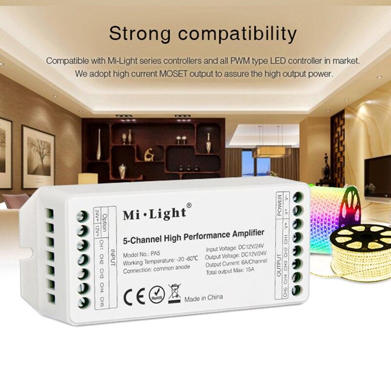 Podría PA5 15A 5 canal de alto rendimiento, amplificador controlador de la serie y PWM Tipo de Controlador led DC12 24 V